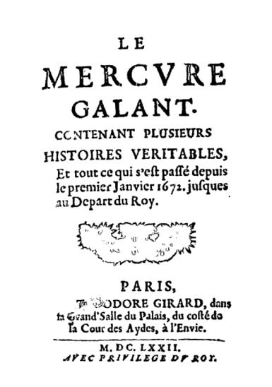 Le Mercure Galant, presse people de 1672 (Crédit photo : Domaine public)